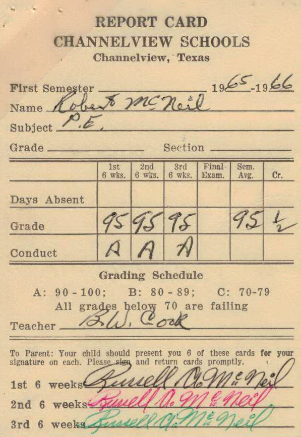 Bob McNeil - 1965 - Age 16 - Eleventh Grade - Fall Semester - Phys Ed Report Card - Channelview High School