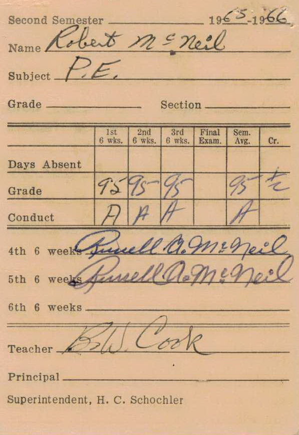Bob McNeil - 1966 - Age 17 - Eleventh Grade - Spring Semester - Phys Ed Report Card - Channelview High School