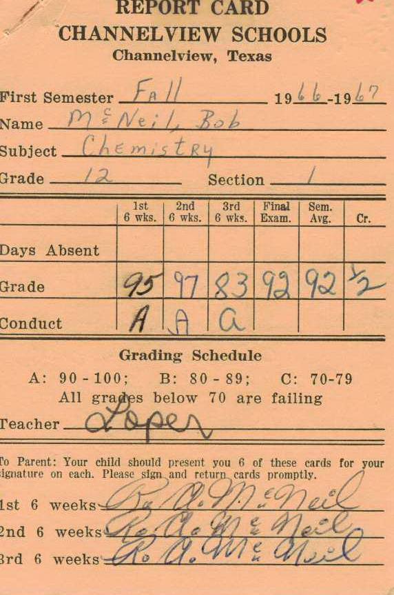 Bob McNeil - 1966 - Age 17 - Twelfth Grade - Fall Semester - Chemistry Report Card - Channelview High School