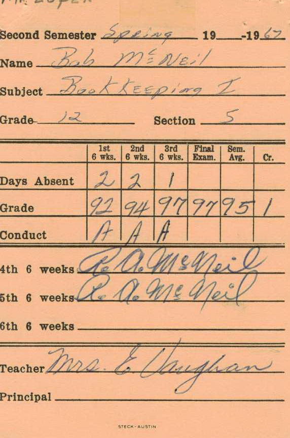 Bob McNeil - 1967 - Age 18 - Twelfth Grade - Spring Semester - Bookkeeping 1 Report Card - Channelview High School