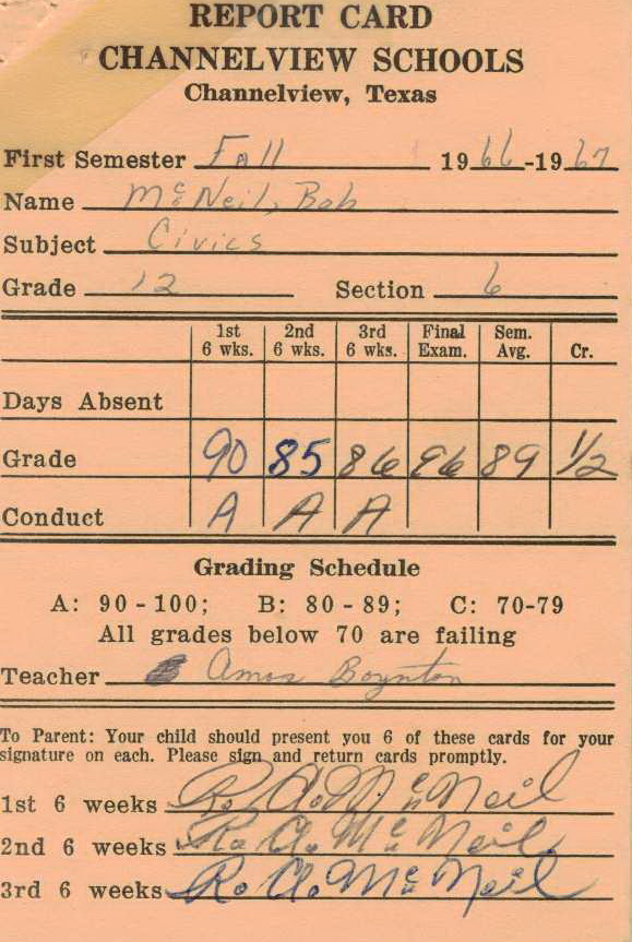 Bob McNeil - 1966 - Age 17 - Twelfth Grade - Fall Semester - Civics Report Card - Channelview High School