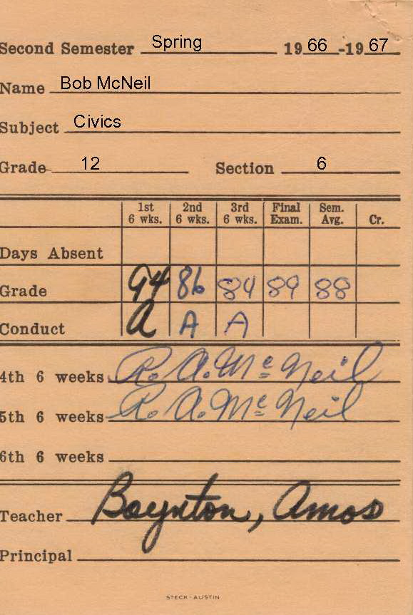 Bob McNeil - 1967 - Age 18 - Twelfth Grade - Spring Semester - Civics Report Card - Channelview High School