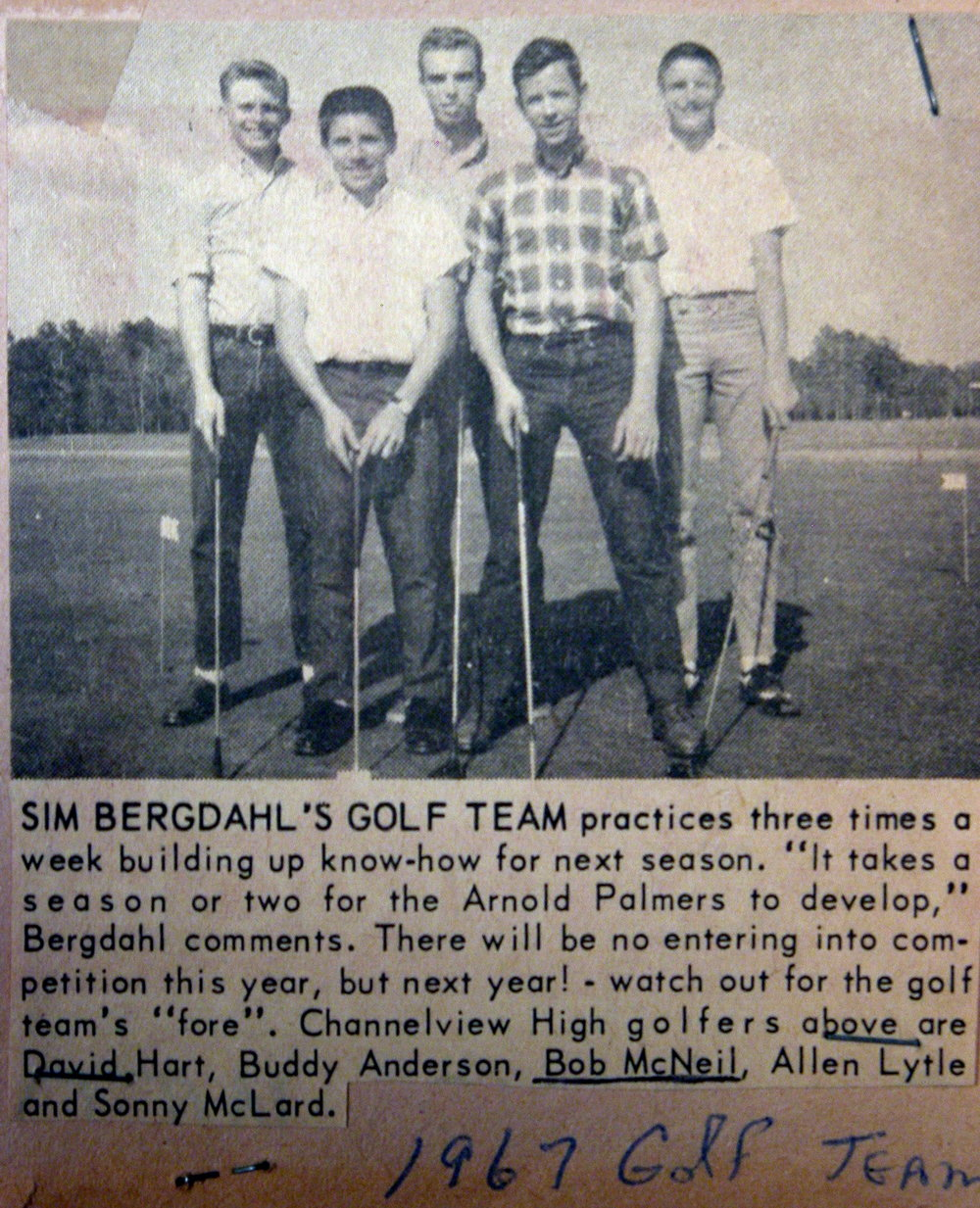 Bob McNeil - 1967 - Age 18 - Twelfth Grade - Channelview High School - Golf Team Picture