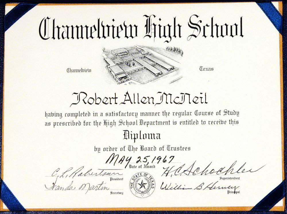 Bob McNeil - 1967 - Age 18 - Channelview High School - Diploma