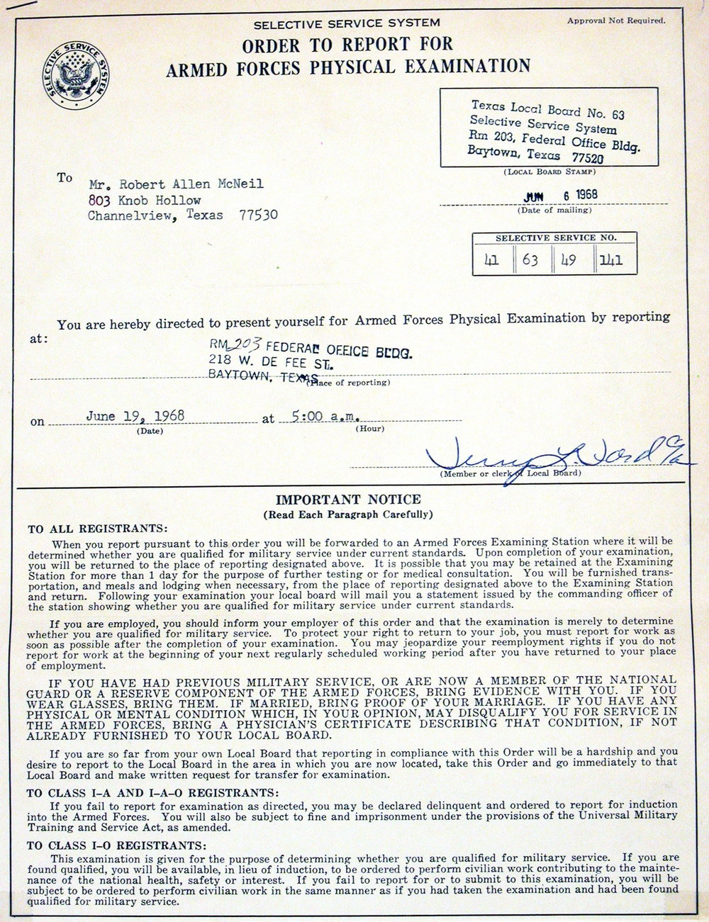 Bob McNeil - 1968 - Age 19 - Order to Report for Armed Forces Physical Examination