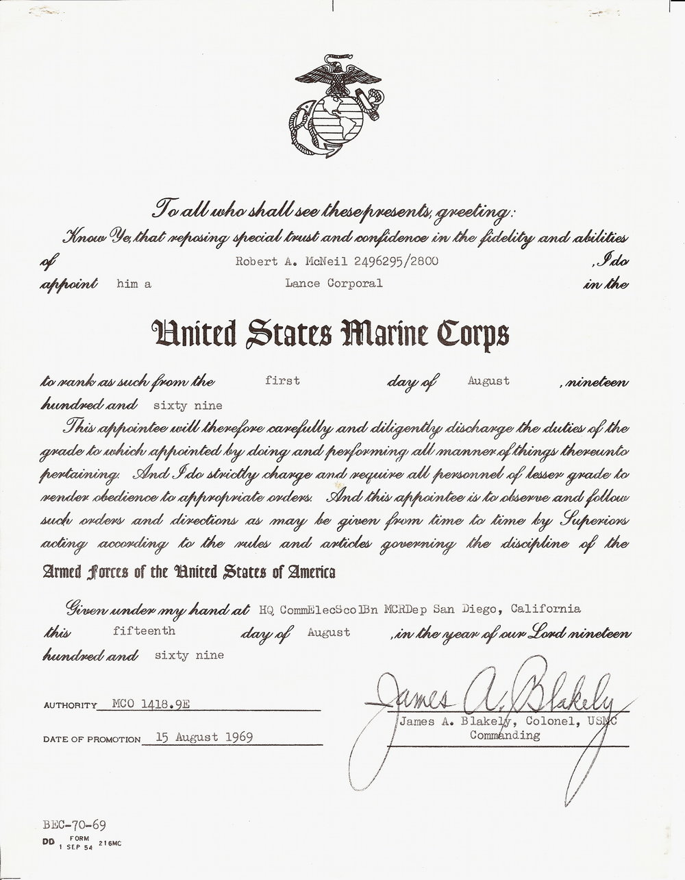 Bob McNeil - August 15, 1969 - Age 20 - U.S. Marine Corps - Promotion to Lance Corporal (E3) - San Diego, California