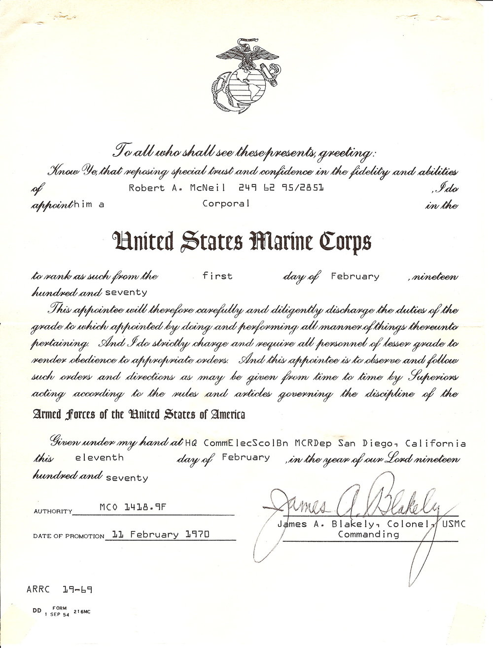 Bob McNeil - February 11, 1970 - Age 21 - U.S. Marine Corps - Promotion to Corporal - San Diego, California