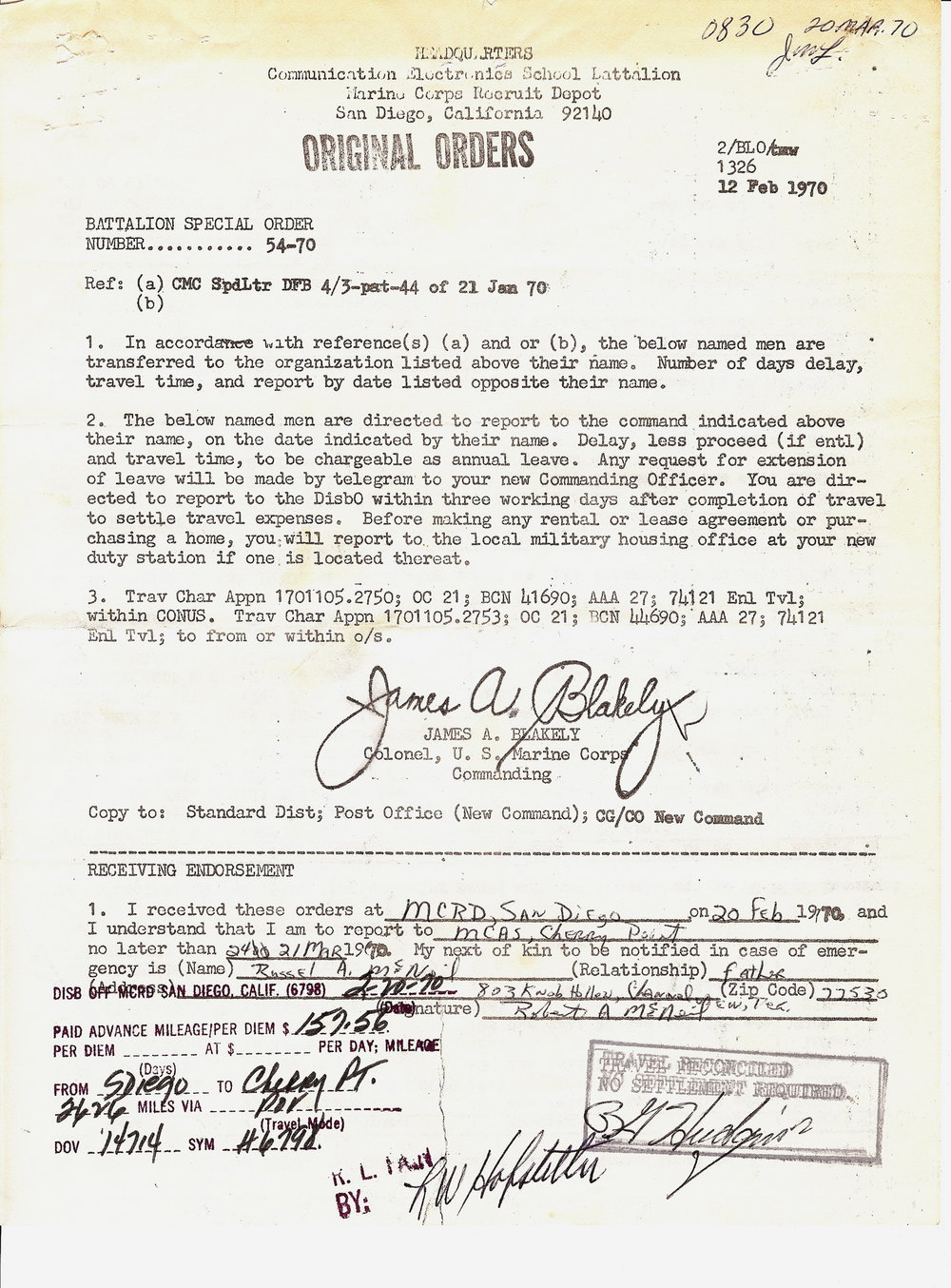 Bob McNeil - February 20, 1970 - Age 21 - U.S. Marine Corps - Orders to MCAS Cherry Point, North Carolina - Page 1 of 2