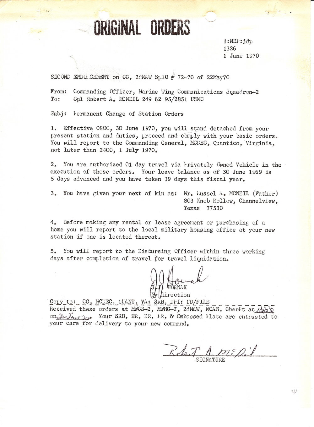 Bob McNeil - June 30, 1970 - Age 21 - U.S. Marine Corps - Orders to Marine Corps Development and Education Command (MCDEC), Quantico, Virginia - Page 1 of 2