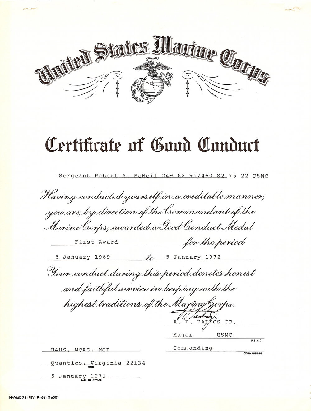 Bob McNeil - January 5, 1972 - Age 22 - U.S. Marine Corps - Certificate of Good Conduct