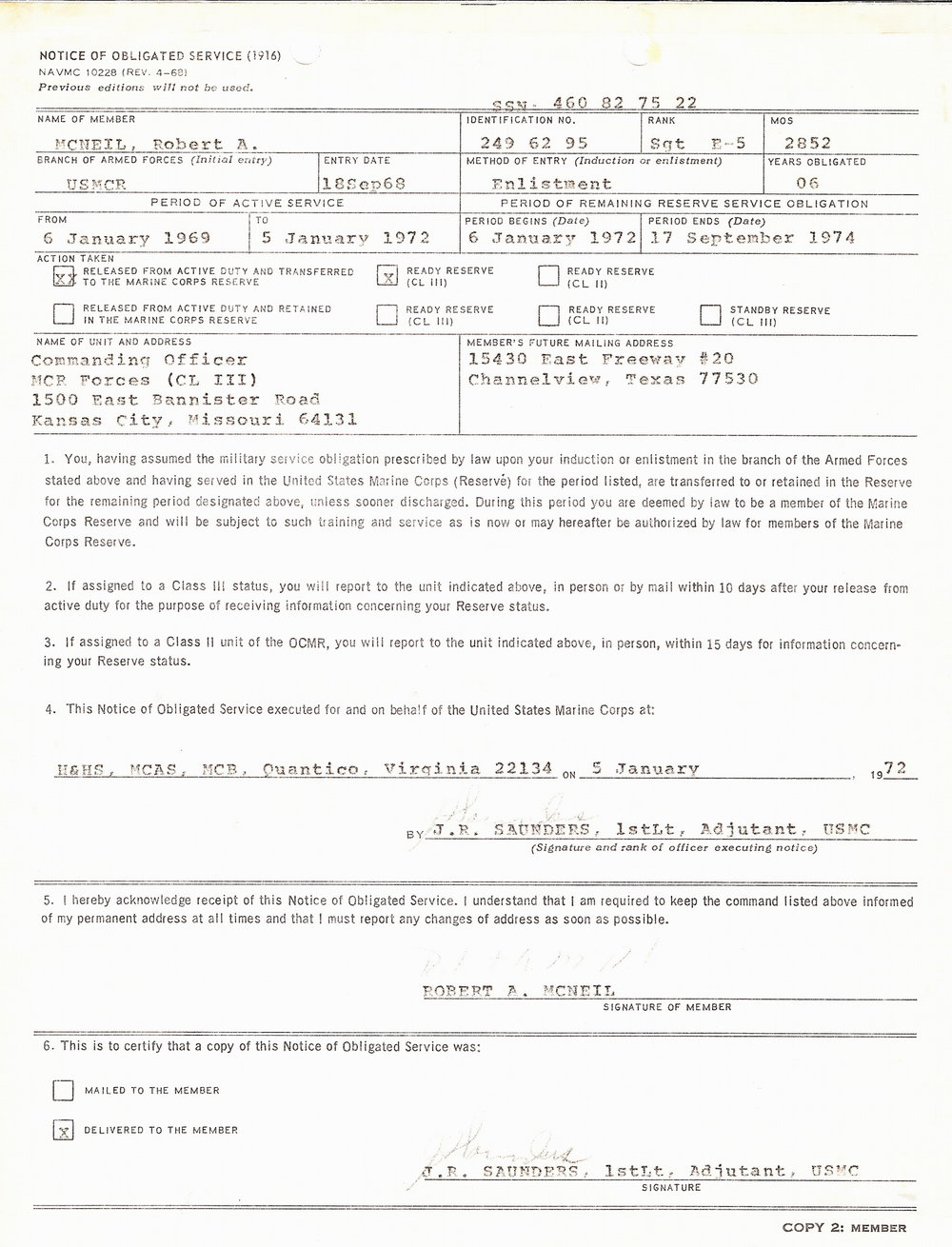 Bob McNeil - January 5, 1972 - Age 22 - U.S. Marine Corps - Notice of Obligated Service
