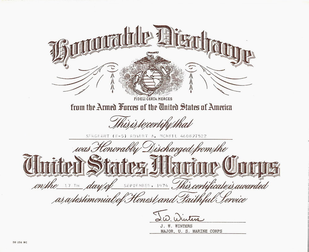 Bob McNeil - September 17, 1974 - Age 25 - U.S. Marine Corps - Honorable Discharge