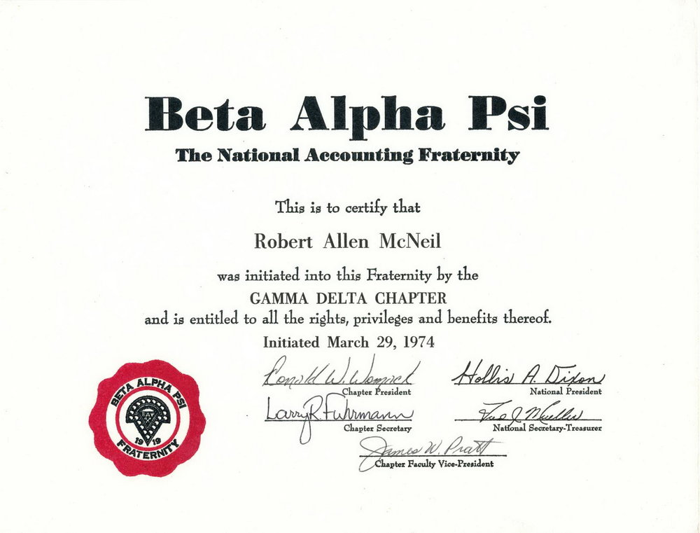 Bob McNeil - March 29, 1974 - Age 25 - University of Houston - Beta Alpha Psi Accounting Fraternity
