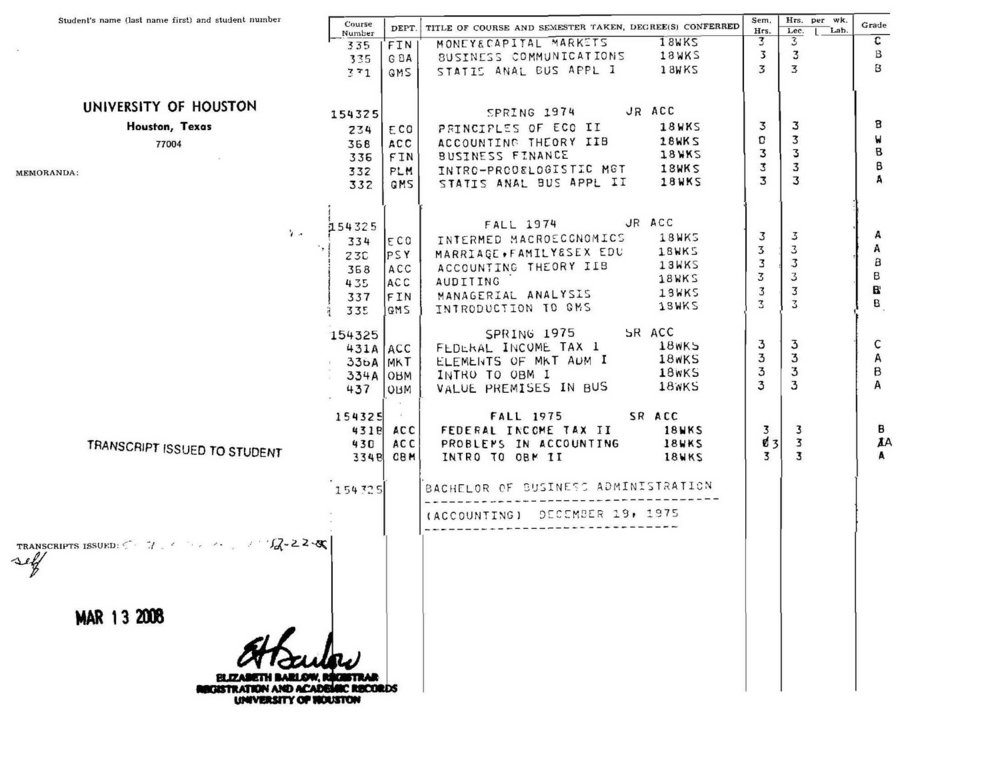 Bob McNeil - December 19, 1975 - Age 26 - University of Houston - College Transcript - page 2