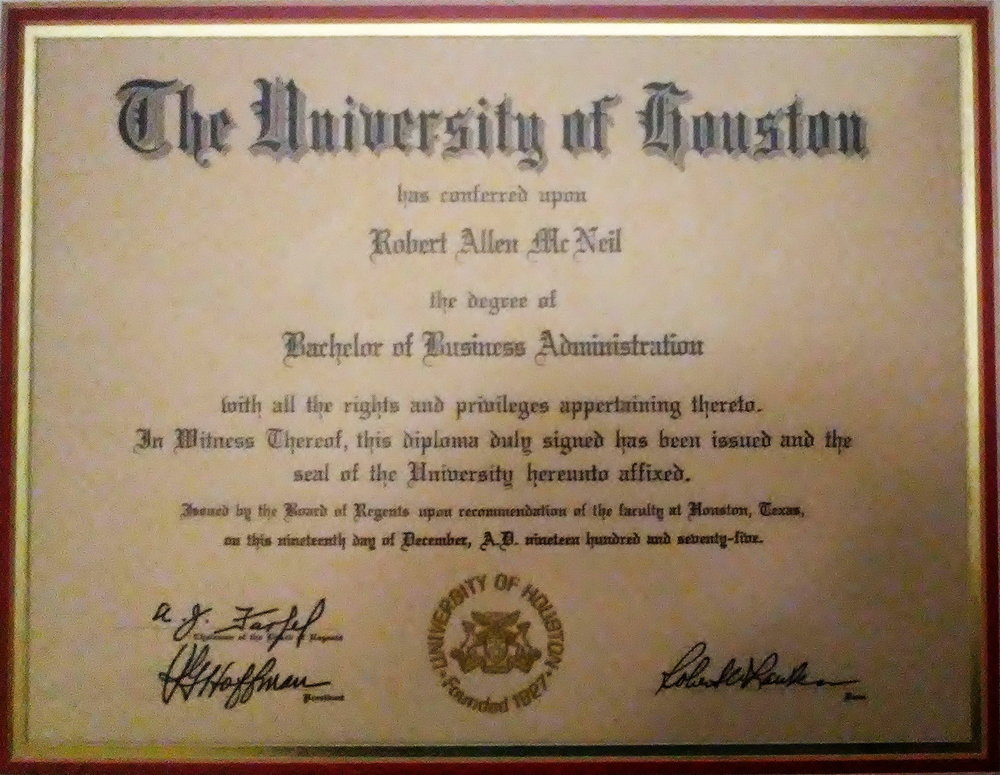 Bob McNeil - December 19, 1975 - Age 26 - University of Houston - Diploma - Bachelor of Business Administration