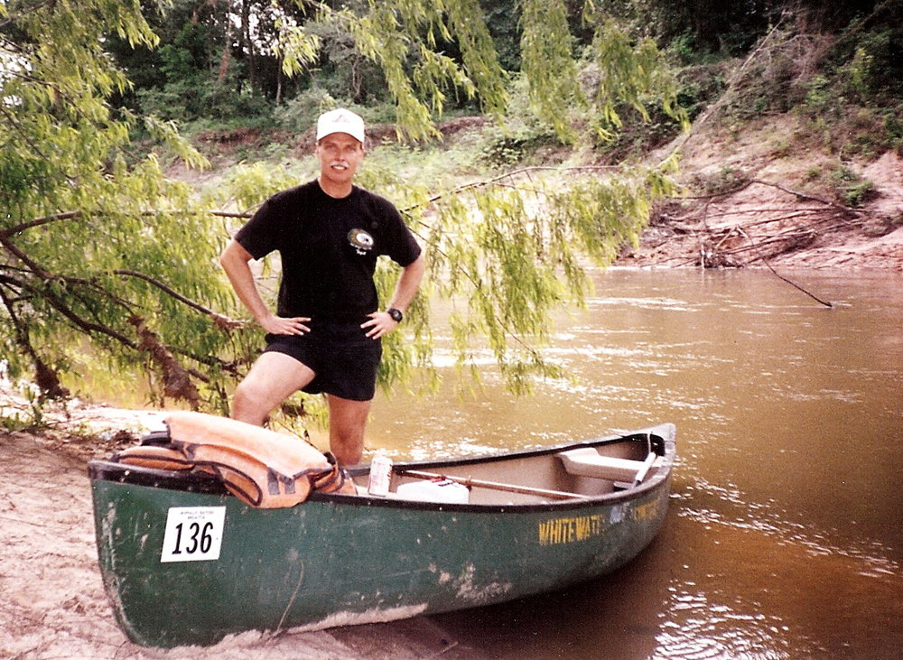 Bob McNeil - 1992 - Age 43 - Canoeing on Buffalo Bayou - Houston, Texas
