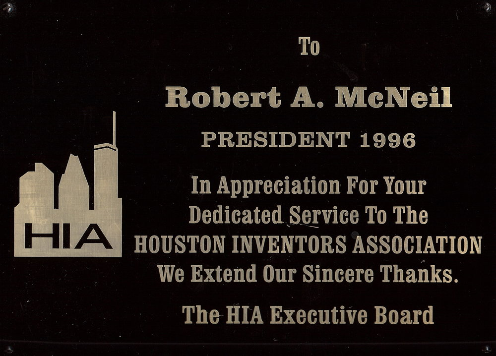 Bob McNeil - 1996 - Age 47 - President of the Houston Inventors Association