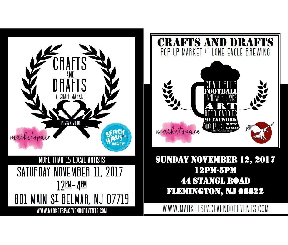 Marketspace Vendor Events Returns with a Crafts and Drafts Weekend Radio Ad  - Nov 5, 2017 Monmouth and Hunterdon Counties, NJ -- 95.7 BEN FM is running a radio ad spot for the Marketspace Vendor Events Crafts and Drafts events at Beach Haus Brewery in Belmar and Lone Eagle Brewing in Flemington this week.