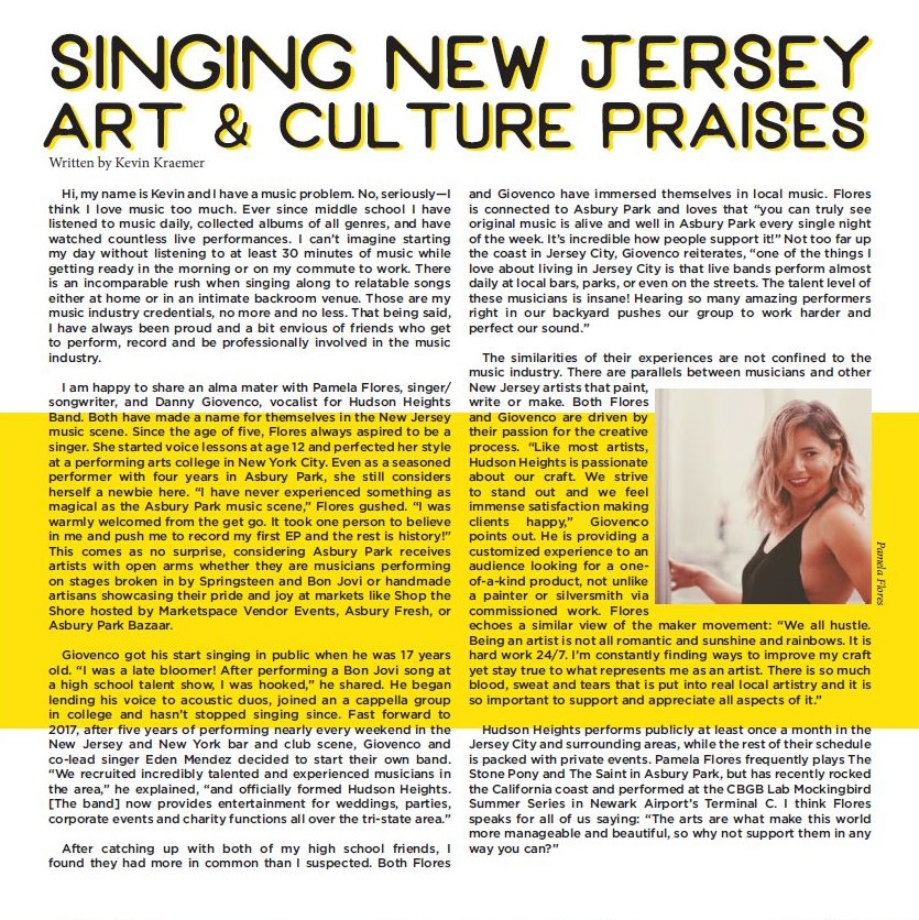 Local New Jersey Music Gives Marketspace the Warm and Fuzzies - October 20, 2018 Belmar, NJ -- Kevin Kraemer, of Marketspace Vendor Events, shines a spotlight on two local New Jersey musicians. Pamela Flores and Danny Giovenco of Hudson Heights Band talk about how they started their music careers and what the New Jersey arts and culture scene means to them in issue six of Breaker Zine.