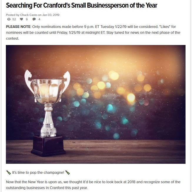 Nominated as Cranford's Small Businessperson of the Year on Alignable.com - January 3, 2019 Cranford, NJ -- Thank you to those who have reviewed Marketspace Vendor Events on Alignable. Due to the engagement on our profile, we were nominated for this very exciting award. The Cranford Alignable community will vote to select Cranford's Small Businessperson of 2018 in the next community newsletter and the winner will be announced by February 28th.