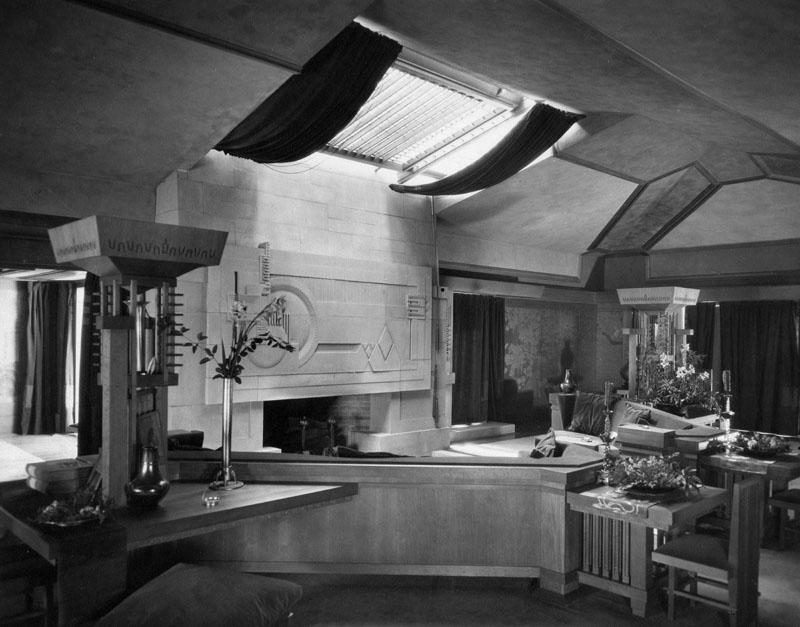 Hollyhock House living room fireplace  Photo via  Barnsdall Art Park