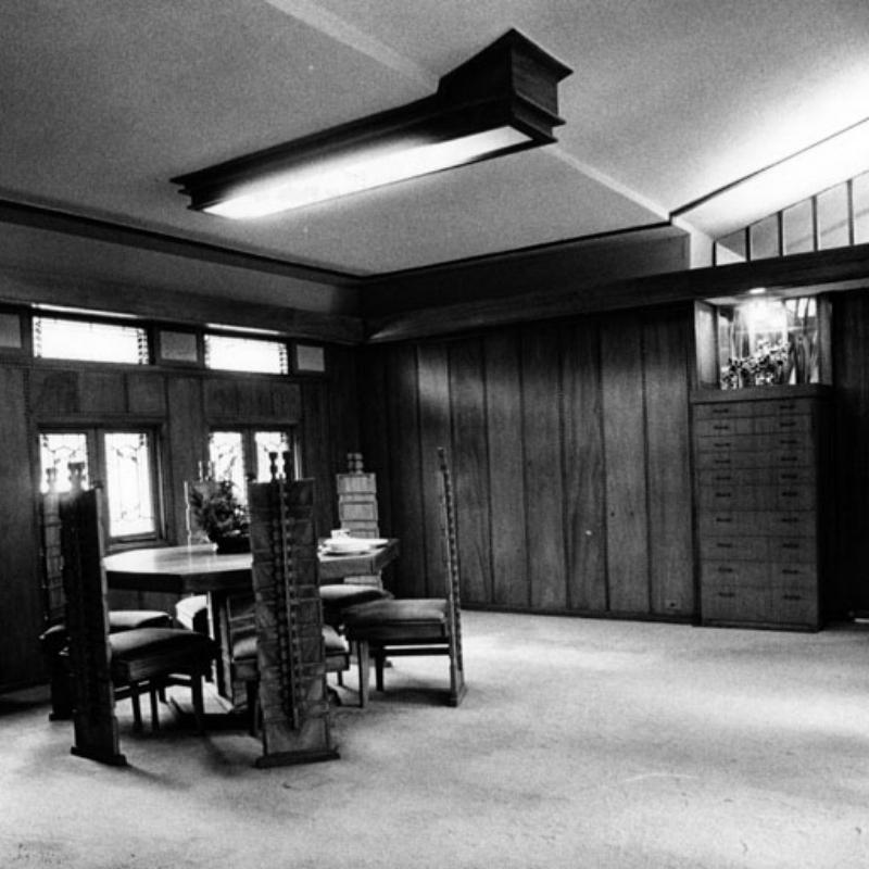 Hollyhock House Interior  Photo via Los Angeles Public Library