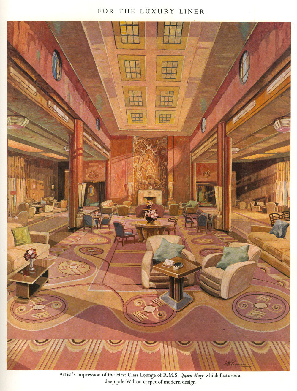 Artist's rendering of the Queen Mary First Class Lounge  Photo via University of Glasgow Archive - Stoddard-Templeton Design Archive