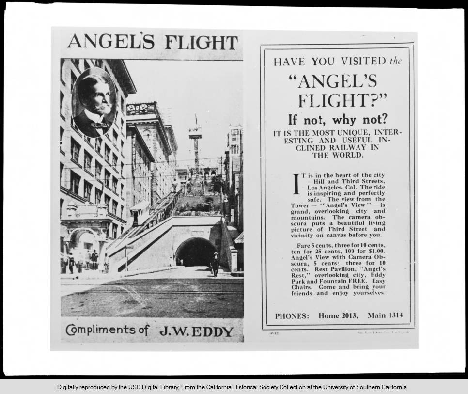 Early advertisement for Angels Flight  Photo via California Historical Society Collection at USC