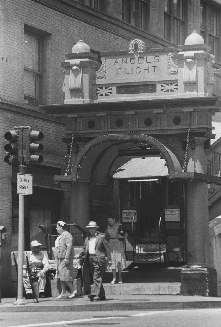 Angels Flight main gateway  Photo by Arnold Hylen via California State Library (1955)