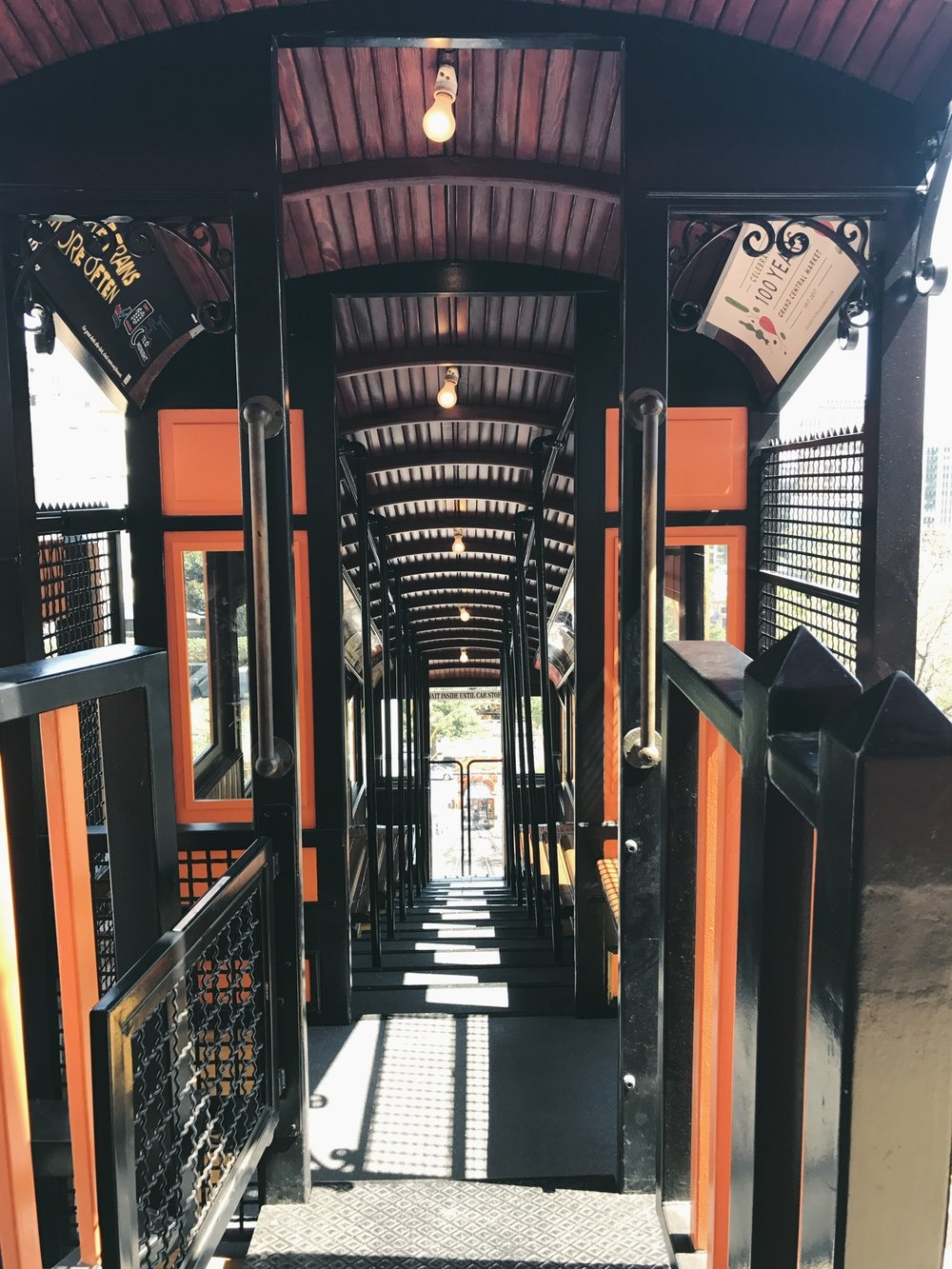 Inside one of the Angels Flight railcars