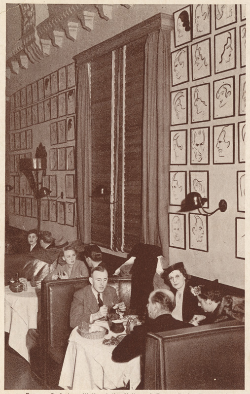 Hollywood Brown Derby Caricature Wall - photo via California State Library