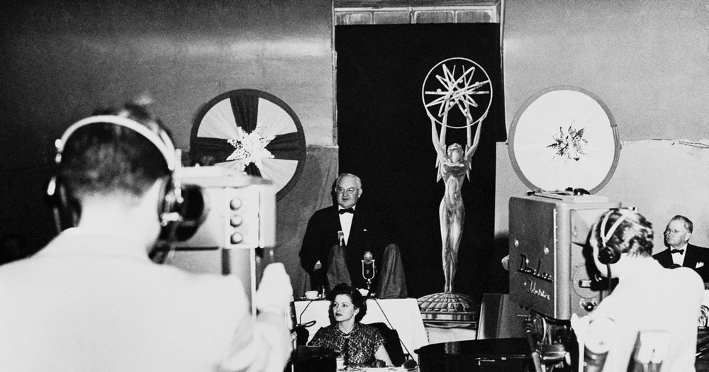 Los Angeles Mayor Fletcher Bowron speaking at the First Emmy Awards Ceremony. Photo via Emmys.com (1949)