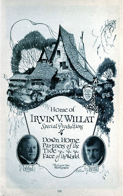 Poster for Irvin Willat's Studio  Photo by Dennis Nordman via Los Angeles Magazine (c. 1921)