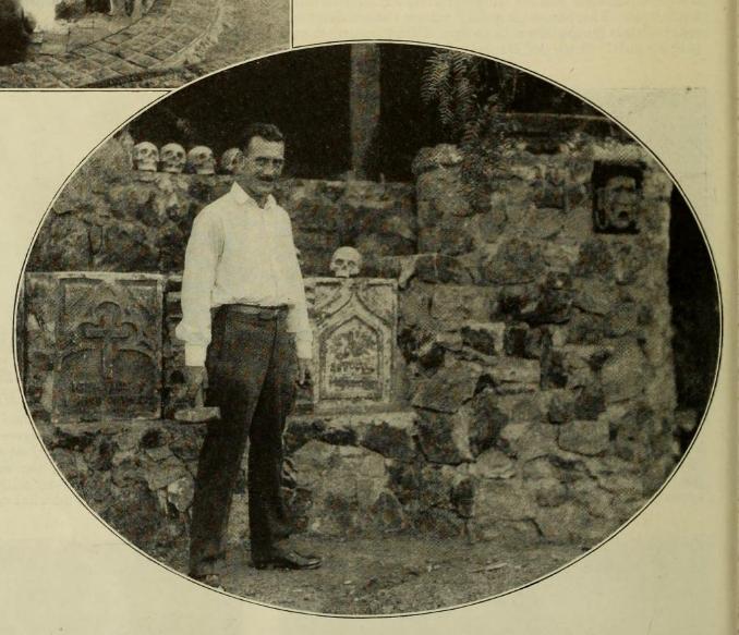 "McDermott in his ""graveyard.""  Photo via  Photoplay  (1924)"