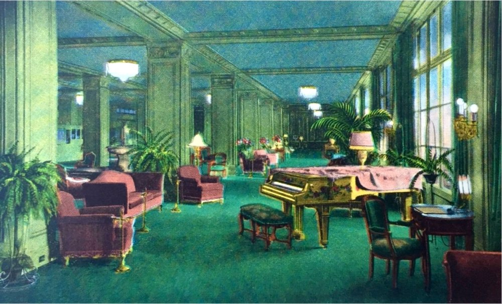 Ambassador Hotel lobby.  Photo via Wikimedia Commons (c. 1920)
