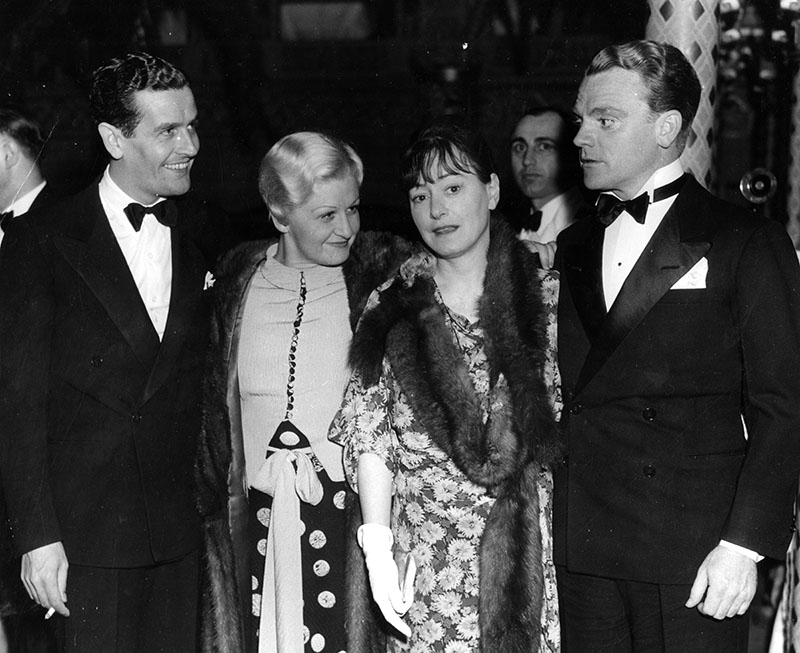 (From left) Alan Campbell, Frances Cagney, Dorothy Parker, and James Cagney at the Cocoanut Grove.  Photo via Los Angeles Public Library (1935)