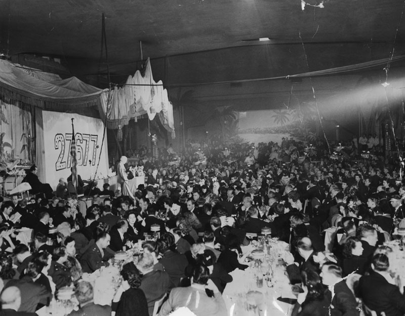 The 15th Annual Academy Awards at the Cocoanut Grove.  Photo via Los Angeles Public Library (1943)
