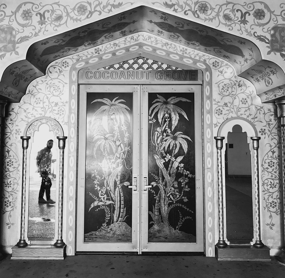 Replica doors to the Cocoanut Grove, now the entrance to the Cocoanut Grove Auditorium at the RFK Community Schools.  Photo via Findng Lost Angeles (2017)