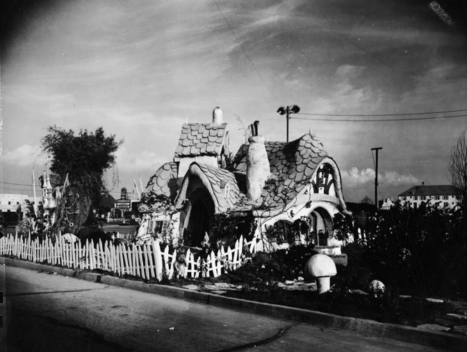Replica of the Seven Dwarves' cottage  Photo via Los Angeles Public Library, Works Progress Administration Collection (1937)