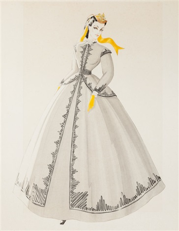 Walter Plunkett's costume design sketch of Vivien Leigh's dress from  Gone with the Wind  (1939). The real dress is now safely tucked away in Western Costume's archive.  Photo via  artnet.com .