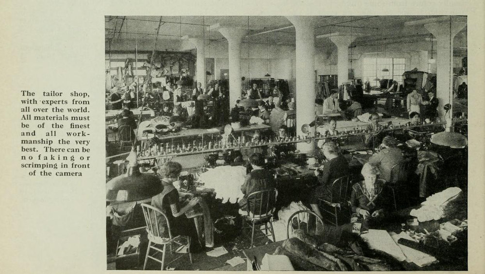 Western Costume's tailors and seamstresses hard at work.  Photo via  Photoplay  (Feb. 1928)
