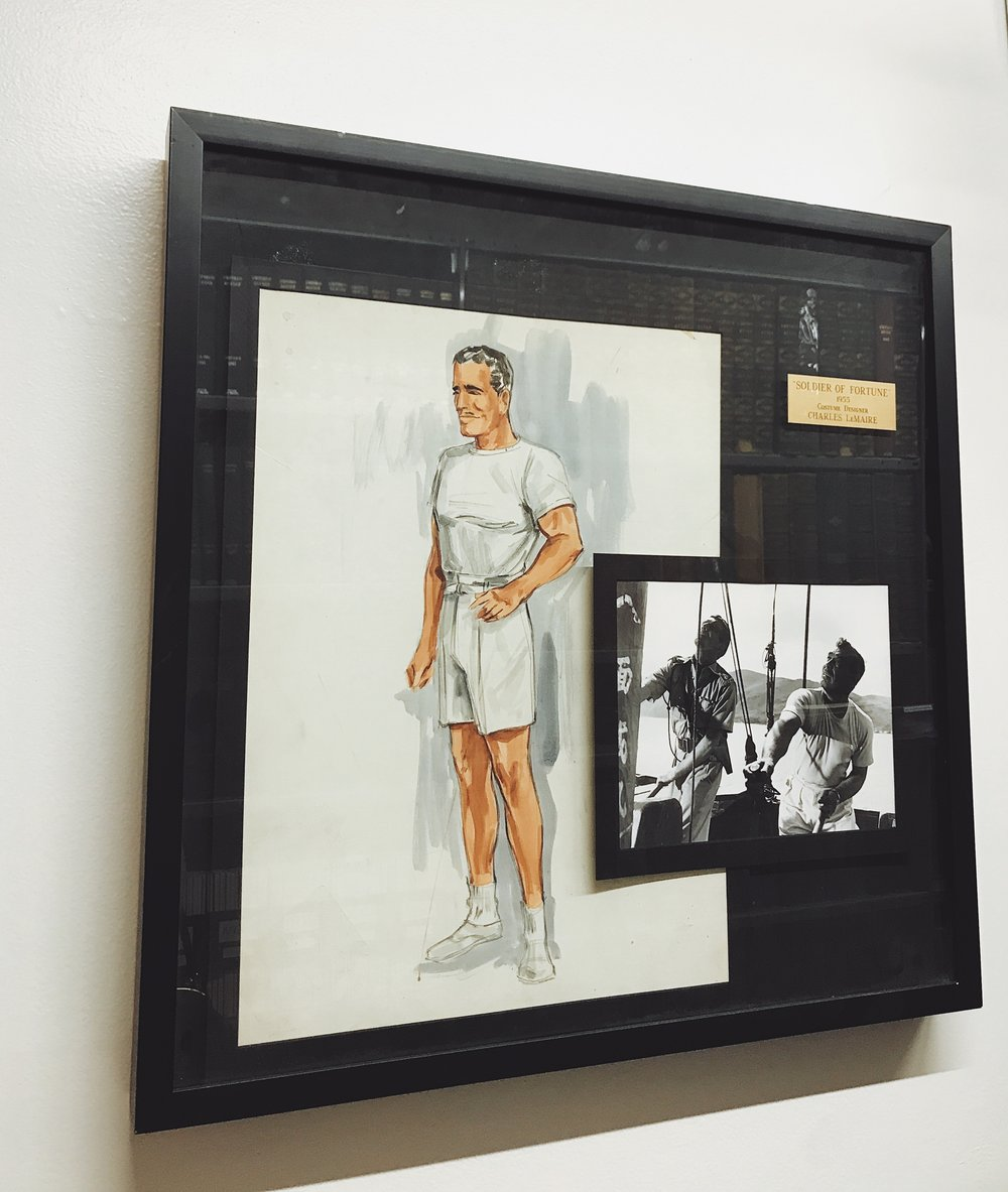 Costume sketch for Clark Gable in  Soldier of Fortune  (1955), by designer Charles LeMaire.  Photo via  Finding Lost Angeles (2018).