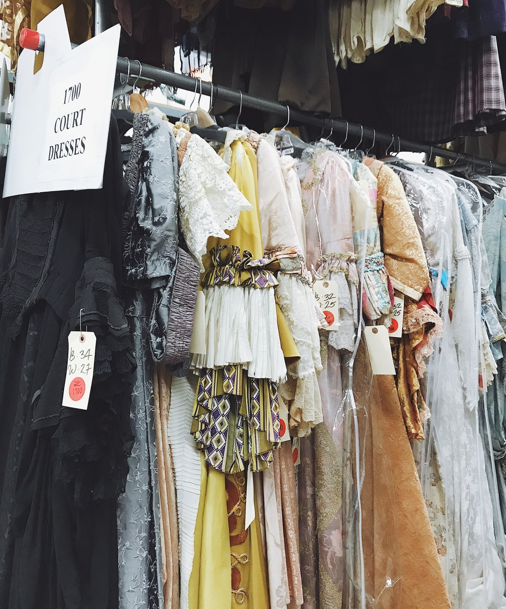 """18th Century-style """"court dresses"""" in the Western Costume warehouse.  Photo via  Finding Lost Angeles  (2018)."""