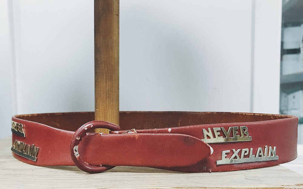 """Vintage belt in """"The Collection at Western Costume Company.  Photo via  Finding Lost Angeles  (2018)."""