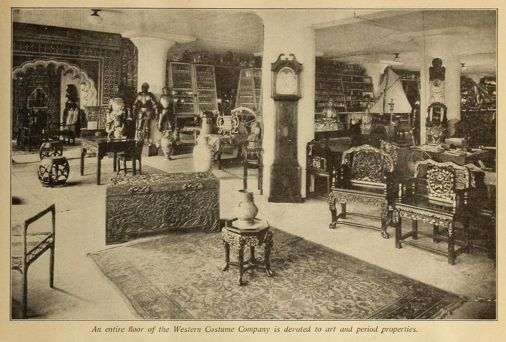 """""""An entire floor of the Western Costume Company is devoted to art and period pieces.""""  Photo via  Picture-Play Magazine (Feb. 4, 1927)."""