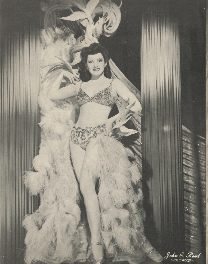 Beryl Wallace in full  Vanities  costume c. 1944. Photo via  Finding Lost Angeles .