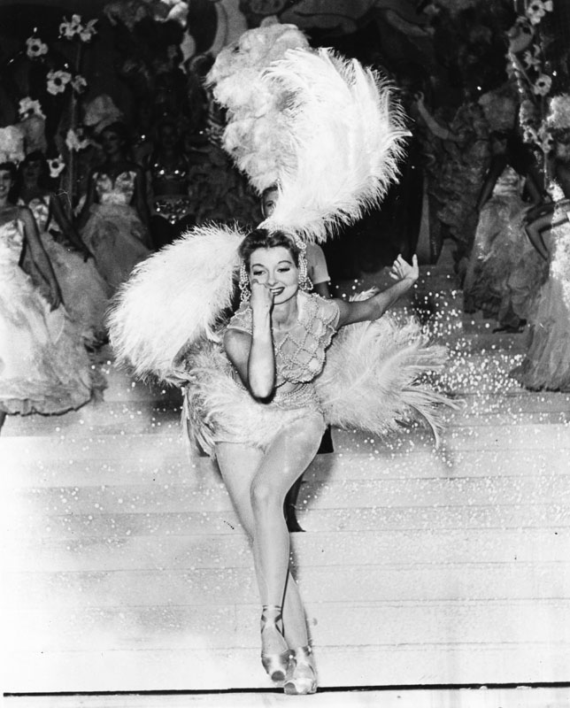 Showgirl performing at the Earl Carroll Theater. Photo via Los Angeles Public Library (date unknown).