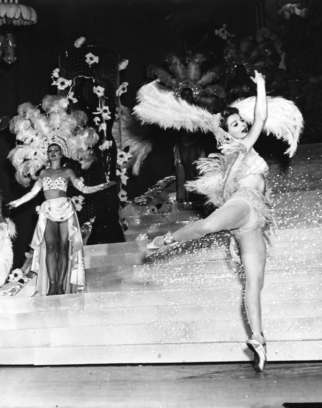 Earl Carroll chorus girl dancing. Photo via Los Angeles Public Library (date unknown).