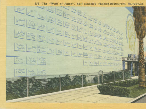 "Postcard of the ""Wall of Fame."" Photo via Loyola Marymount University, Dept. of Archives and Special Collections, William H. Hannon Library (1948)"
