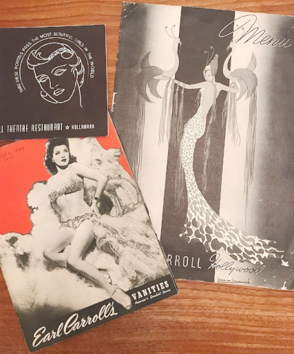 Various ephemera from the Earl Carroll Theater. Clockwise from top: a souvenir photo booklet, restaurant menu, and  Vanities  program with Beryl Wallace on the cover. Photo via  Finding Lost Angeles  (2018).